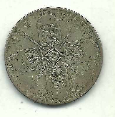 Very Nice 1920 Great Britain 1 One Florin-2 Shilling Silver Coin-Apr322