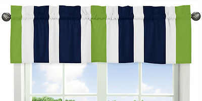 Window Valance Curtain for Sweet Jojo Designs Navy Blue Lime Stripe Bedding Set