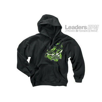 Arctic Cat New OEM Team Arctic Race Zip Hoodie, 2XL, Black w/ Green, 5219-268
