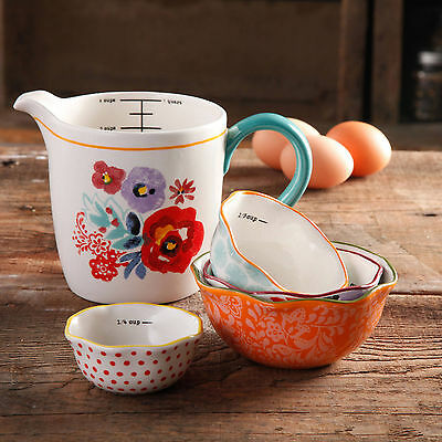 NEW The Pioneer Woman Flea Market 5-Piece Prep Set 4-Piece Measuring Bowls & Cup