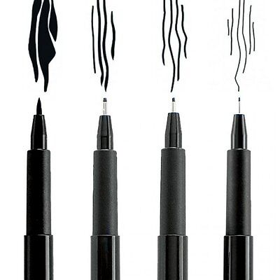Faber-Castell Pitt Artist Pens - 4 Pack - Black or Sepia - Archival India Ink