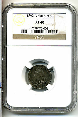 Great Britain 6 Pence 1892,NGC XF 40