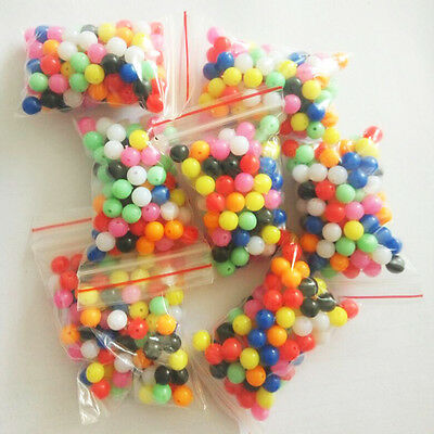 100Pcs Mixed Colours Plastic Beads Round 6mm Rigs Making Fishing Beads Random