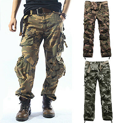 FASHION Mens Army Camouflage Military Combat Camo Cargo Work Long Trousers Pants