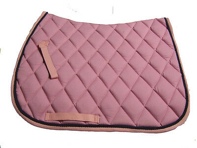 Ecotak Full Size Dressage Saddle Pad - Pale pink with Navy rope piping