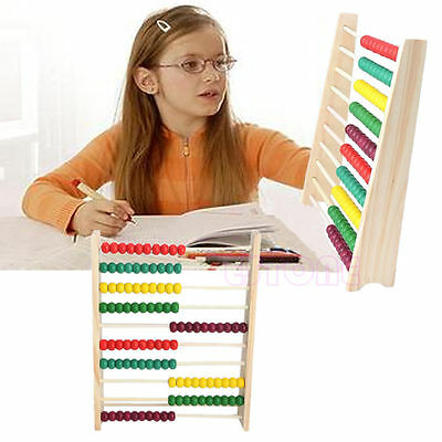Abacus 10-row Colorful Wooden Beads Counting Kid Maths Learning educational toy