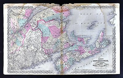 1866 Colton Map New Brunswick Nova Scotia Halifax Prince Edward Island - Canada