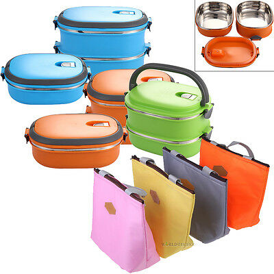 0.9/1.8L Insulated Lunch Bento Box Food Storage Container Thermo Thermal + Bag