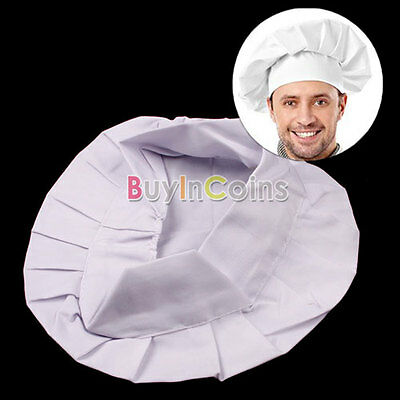 Kitchen Cooking One Size Elastic White Chef Hat Baker BBQ Hat Costume Cap SA