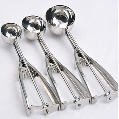 Ice Cream Spoon Stainless Steel Spring Handle Masher Cookie Scoop s3