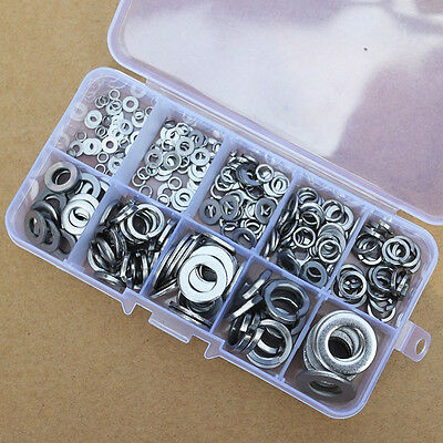 260Pcs M2.5-M10 Stainless Steel Washer Lock Spring Pad Assortment Set Hardware