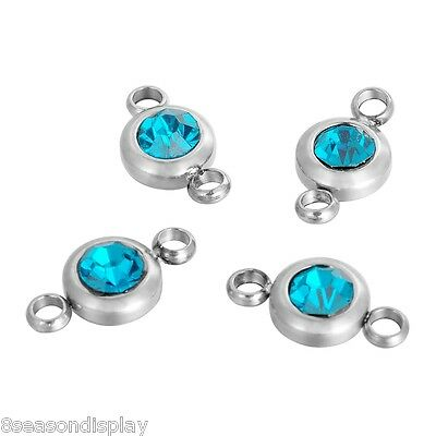 25PCs Stainless Steel Lakeblue Rhinestone Round Connector Findings 12x6mm