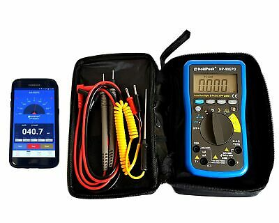Digital Multimeter HP-90EPD mit mobiler App Batterietester Autorange °C Hz AC DC