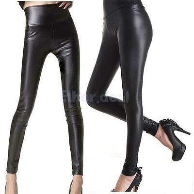 Damen PU Leder Hose Leggings Women PU Leather Pant Strumpfhose schwarz