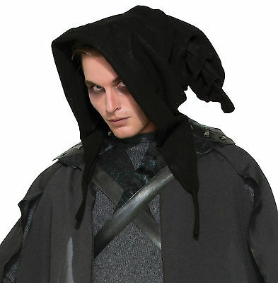 Witches & Wizards Cowl Black Hood Halloween Fancy Dress Costume Accessory