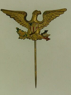 Antique Brass With Gold Wash Enamel American Eagle Hat Or Stick Pin!