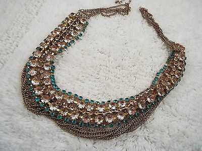 Goldtone Champagne Blue Faux Rhinestone Multi Strand Necklace (A11)
