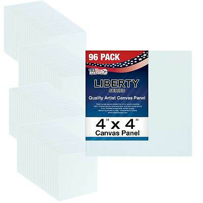 "Blank Cotton Canvas Panels 4""x4"" 96-Pack Mounted Art Boards Paint Supplies Craft"