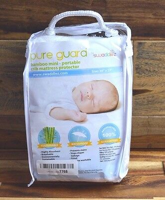 "Pure Guard By Swaddlez Bamboo Mini Portable Crib Mattress Protector ""New Open"""