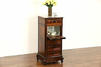 French Carved Rosewood Marbletop 1890 Antique Nightstand