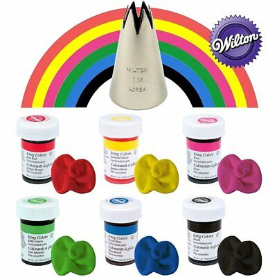 Wilton Icing Paste Gel for Cake Baking Decoration 6 Primary colours With 1M Tip