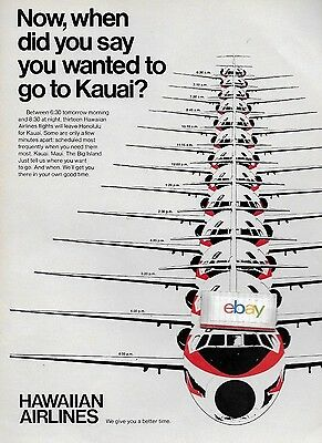 Hawaiian Airlines 1970 Dc-9 Now When Did You Say Your Wanted To Go To Kauai ? Ad