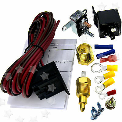 200~185 Degree Engine Cooling Fan Thermostat Temperature Switch Sensor Relay Kit