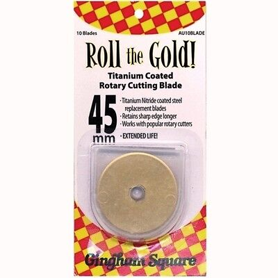 "Roll The Gold 45MM (1-3/4"") Gold Titanium Coated Rotary Cutting Blade - 10 PK"