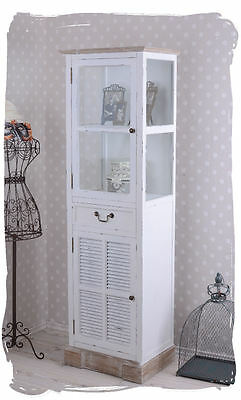 CABINET SHABBY CHIC GLASS-FRONT CABINET COUNTRY HOUSE STYLE SHELF WHITE Wardrobe
