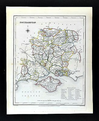 1831 Lewis Map England - Southampton Winchester Portsmouth Isle of Wight Newport