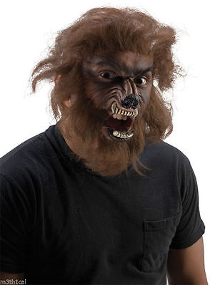Werewolf Wolfman Face Makeup Hair Kit Appliance Latex Face Wolf Prosthetic NEW