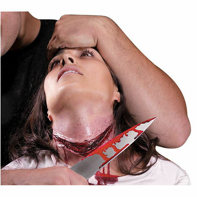 Slit Cut Gurgle Neck Wound Gory Kit Latex Prosthetic Costume Makeup Appliance