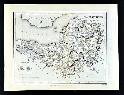 1831 Lewis Map England - Somersetshire - Bristol Bath Tauton Frome Crewkerne