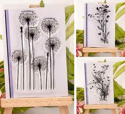 New Flower & Grass Transparent Silicone Clear Rubber Stamp Cling Scrapbook DIY