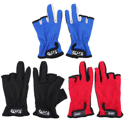 1Pair Skidproof ANTI-SLIP 3 Low Fingers Cut Fishing Gloves Fish Clothing Gear
