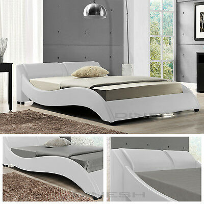 OSLO White Double Bed Upholstered Bedstead Slatted frame Faux leather