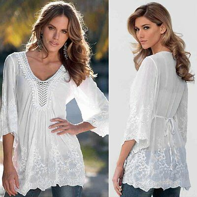 Fashion Womens Summer Long Sleeve Lace Casual Blouse Loose Cotton Tops T Shirt