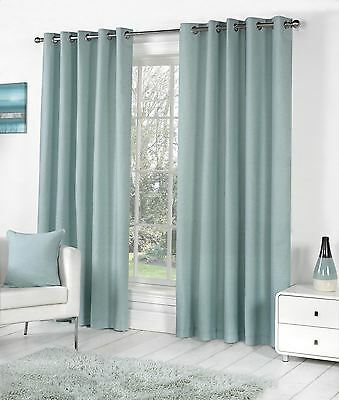 Pair Of 90 x 72 inch Fully Lined Eyelet Curtains Duck Egg Blue Faux Silk