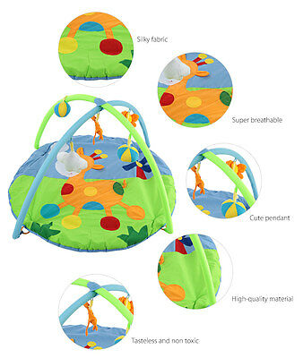 Baby Soft Play Mat Deer Gym Blanket with Frame Rattle Crawling Toy