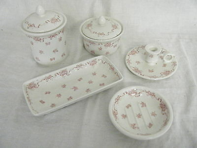 C4 Pottery Laura Ashley Ribbons Bathroom Set (7 pieces) 8C3A
