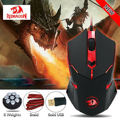 Redragon Centrophorus M601 3200DPI USB Pro Gaming Mouse 6 Buttons Weight Tuning