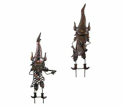 Dark Metal Gnome Gnomes Hanging Wall Art Flower Bed Garden Ornament