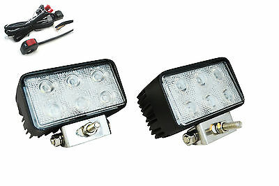 18W CREE LED Rectangular Spotlights & Wiring Switch Kit for Motorbikes & Quads