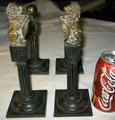 Antique Fireplace Andirons Fire Dog Hearth Stove Cast Iron Brass Lion Bookends