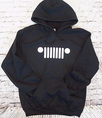 JEEP GRILL HOODIE Black Men's Pull Over Sweatshirt Hooded CJ JK Wrangler Rubicon