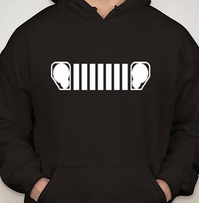 KK GRILL HOODIE Black Men's Pull Over Sweatshirt Hooded Jeep Liberty Headlight