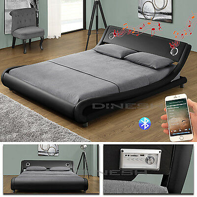 Memphis Black Bluetooth Double Bed Upholstered Slatted Frame Marriage