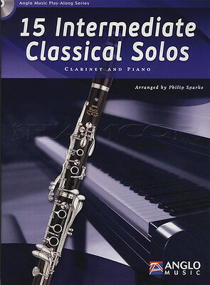 15 Intermediate Classical Solos for Clarinet Sheet Music Book with CD