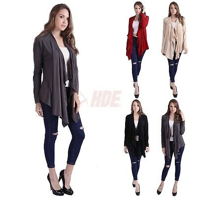 Womens USA S M L XL Long Sleeve Cardigan Sweater Open Front Comfy Draped Jacket