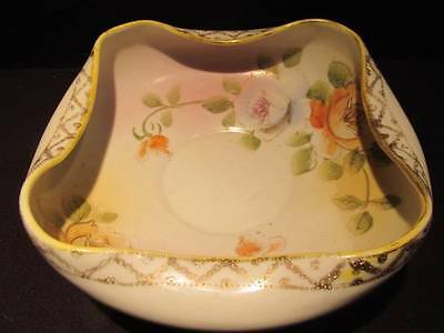 Hand Painted Nippon Vintage Bowl with Floral Detail & Gilt Edging Nice Design